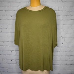 ava & viv Plus Olive Green loose fit Tunic top 2X